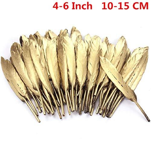 Macht Elf Kostüm - Yalulu Goldene/Silber Federn, 50 Stück Natürliche Dekoration Gänsefedern Feder Dekofedern Hochzeit Party Fest Kostüm Deko (Gold, 10-15cm)