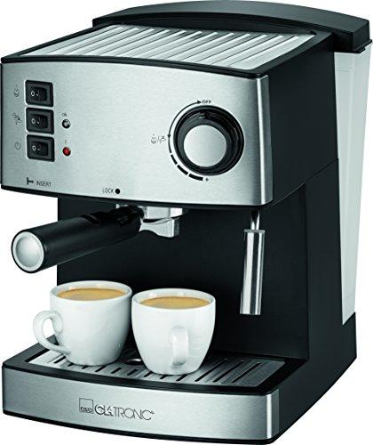 Clatronic ES 3643 Espressoautomat, Edelstahlfront, Dampfdruck 15 bar, 1,6 L, abnehmbarer Wassertank,...
