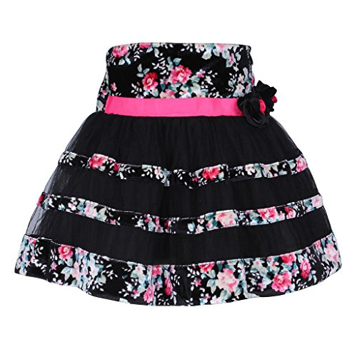 Cutecumber Girls Net Floral Printed Black Skirt  available at amazon for Rs.548