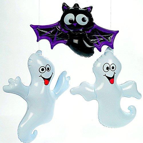 German Trendseller® - 2 x Geister ┃ 1 x Fledermaus ┃ Halloween ┃ Gespenster ┃ Diese Aufblasbaren Grusel Kerle Runden Ihre Halloween Spuk Party so richtig (Aufblasbares Gespenst)
