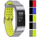 Greatfine Montre Smart Watch Anti Bande imperméable à l'eau Durable Bandes pour Fitbit Charge 2 d'activité et de Suivi de la fréquence Cardiaque Bracelet (GreyYellow)