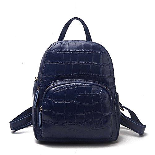 Mefly Europei e moda Americana doppia cerniera Zaino in pelle goffrata merci pura zaino nero Gules blue