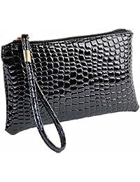 Malloom® Mujeres larga cartera monedero Soft Umbrella embrague de cuero del bolso billetera (negro)