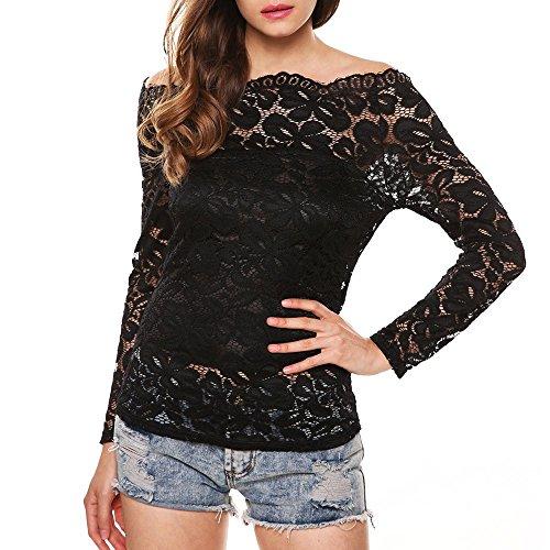 Sunnywill Damen Blusen Pullover Streetwear Boot-Ausschnitt Floral Lace Langarm-Shirt Aus der Schulter Twin Set Top (Black, M) (Röcke Twin-set Frauen)