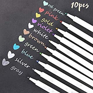 10 Colors Metallic Marker Pens Set Painting Marker for DIY Photo Album Gift Card Making