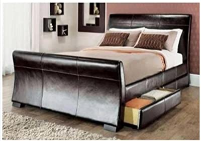 5ft king size leather sleigh bed with storage 4X drawers Brown - cheap UK bed store.