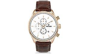 Montre bracelet de luxe Vincero Chrono S pour homme - Cadran blanc avec bracelet en cuir marron - Montre Chronographe 43mm - Mouvement à quartz japonais