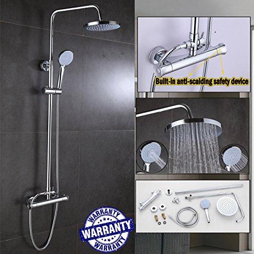 Neueste Badezimmer Mixer Dusche Set thermostatsteuerung Ventil Bar Twin Köpfe Set Regen Head & Handbrause rund, chrom Messing Wasser-mit Beschlägen leicht installieren, UK - Beschlag-dusche-kopf