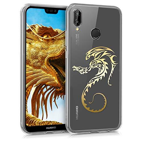 kwmobile Funda para Huawei P20 Lite - Carcasa Protectora de [TPU] con diseño de dragón en [Dorado Transparente]