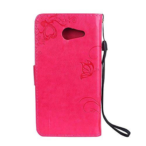 Premium PU Leder Folio Stand Case, Solid Farbe prägeartig Blumen Stil Schutzhülle Tasche Tasche mit Lanyard & Card Slots für Samsung Galaxy J5 (2017) ( Color : Modena ) Red