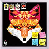 ArtzFolio Fox Head In Geometric Pattern Printed Bulletin Board Notice Pin Board cum White Framed Painting 12 x 12inch