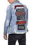 EightyFive Herren Jeans-Jacke Patches Aufnäher Destroyed Slim Fit Blau EF1870, Größe:XL, Farbe:Blau