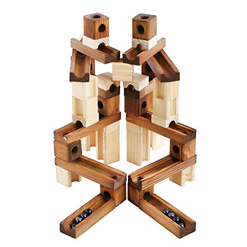 (XBDOT Woodiness Orbit Roll Ball Toy Assemble Pipeline Puzzle Building Blocks Toys Roller Coaster Game DIY Construction Model für Jungen & Mädchen über 3 Jahre Old-60 Pcs)