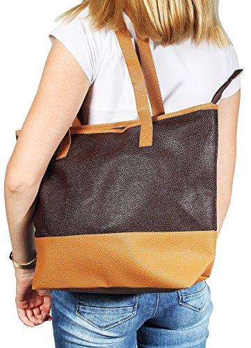 Akzent Damen Lederimitat ideal für Kurztrips Wochenende Einkaufen 43x32x30 cm - 3600036-001 braun/braun