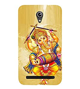 FUSON lord ganesha indian god shiva tanmayatvam dolak dancing vinayaka ganapathi Designer Back Case Cover for Asus Zenfone Go ZC500TG (5 Inches)
