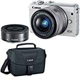 Canon EOS M100 White Dual Lens Bundle with EF-M 15-45mm f/3.5-6.3 is STM & 22mm f/2 STM Lenses Plus DSLR Camera Accessory Bag