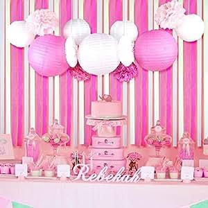 baby shower fille decoration rose chambre lanterne papier cr pon pompon rosace de soie d co pour. Black Bedroom Furniture Sets. Home Design Ideas
