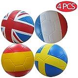 Macro Giant 6 Inch Foam Flag Football / Fußball, 4er Set, UK & France & Spanien & SCHWEDEN, Kickball, Spielplatzball, Anfänger