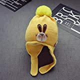 mlpnko Kinder Wollmütze Jungen Gehörschutz Haarball Hut Mädchen Hut warm gelb 3 Monate -2 Jahre alt