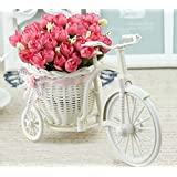 Tied Ribbons Cycle Shape Flower Vase With Peonies Bunches