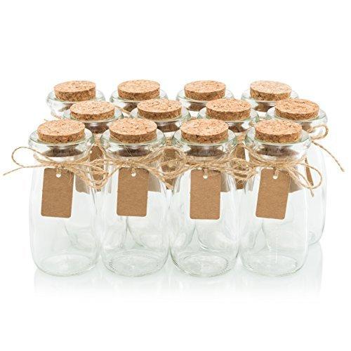 Glas Favor Gläser mit Kork Deckel-Mason Jar Hochzeit Gastgeschenken-Apotheker Gläser Milch Flaschen, mit Label Tags und String-3,4oz [12BULK Set] ideal für Gewürze, Candy und Kerzenherstellung (Bulk Mason Jar Deckel)