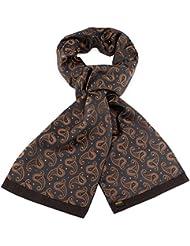 Mailando Herrenschal aus Kaschmir-Woll-Mix und Seide, Paisley Muster, sehr elegant, schwarz – braun