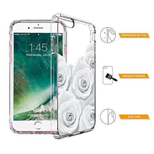Floral Case for iPhone 7 iPhone 8 White Roses