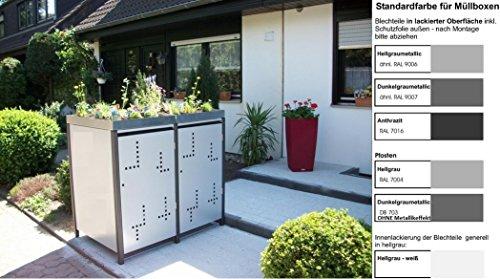 Metall Mülltonnenbox für 2 Tonnen RAL grau / anthrazit, Müllcontainer, Müllbox. Made in Germany. # Größe: Für 2 Tonnen bis 120 l # Farbe: Farbenauswahl per EMail angeben # Dach: Mit Pflanzwanne # Stanzung: Serie