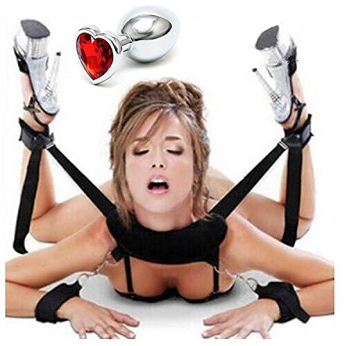 Kit costrittivo collo polsi caviglie +dildo anale a forma di cuore nuova idea regalo sadomaso per bondage bdsm