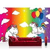 Fototapete 254x184 cm PREMIUM Wand Foto Tapete Wand Bild Papiertapete - Kinder Jugend Tapete Einhorn Einhörner Ballons Wolken Regenbogen bunt - no. 4467
