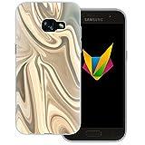 Mobilefox Liquid transparente Silikon TPU Schutzhülle 0,7mm dünne Handy Soft Case für Samsung Galaxy A3 (2017) Liquid Gold - Verlauf Hülle Cover Gel