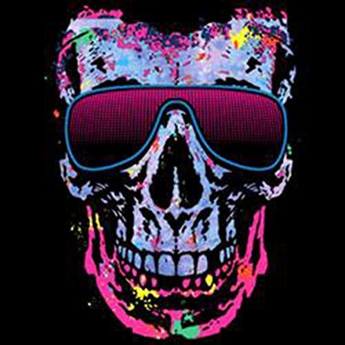 Pop Art Style Tank Top Neon Skull mit Brille Shirt 4 Heroes Beach Tanktop Herren Geburtstag Geschenk geil bedruckt Schwarz