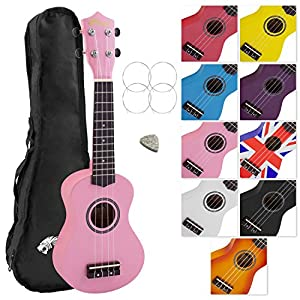 Tiger UKE7 Soprano Ukulele for Beginners Includes Gig Bag, Felt Pick, Spare Set of Strings, Pink