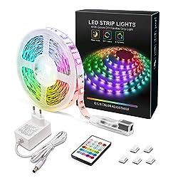 MYPLUS LED Streifen, RGB Led Strips 5M mit IR-Fernbedienung und 12V Stromversorgung, Farbwechsel SMD 5050 Farbänderung Led-Band für Zuhause, Schlafzimmer,TV,Decke,Schrankdeko
