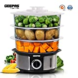 Geepas Electric Food Steamer 12L Capacity | 3 Tiers BPA Free Removable |