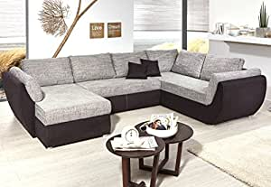 wohnlandschaft ontario 326x231 cm mikrofaser grau schwarz sofa u form funktionssofa schlafsofa. Black Bedroom Furniture Sets. Home Design Ideas