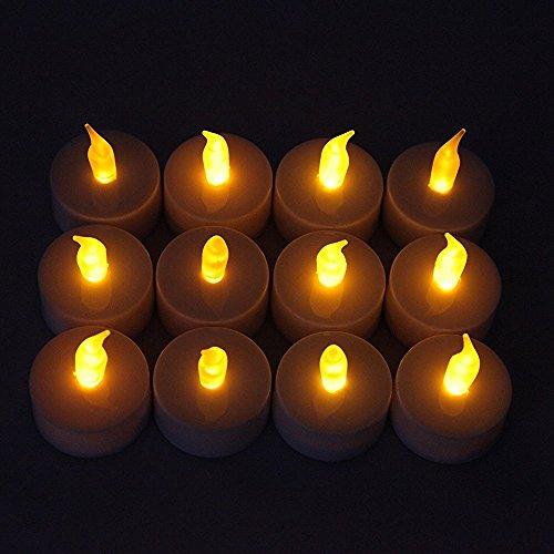 GamutTek 12 x amarilla parpadeo LED Tealight velas sin llama para la boda Navidad, usuario reemplazable batería CR2032, eficiencia de 24-48 horas LED Hold con operación continua