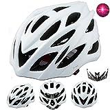 Damen Herren Fahrradhelm mit integriertes LED-Rücklicht und Sonnenblende, Matt Specialized Rennradhelm mit Insektenschutz, MTB fahrrad helm integral mit 22 Belüftungskanäle gr 57-62 Weiß Matt
