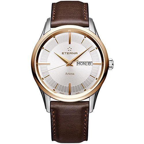 Eterna Men's Kontiki 40mm Brown Leather Band Steel Case Quartz Silver-Tone Dial Watch 2525-53-11-1344
