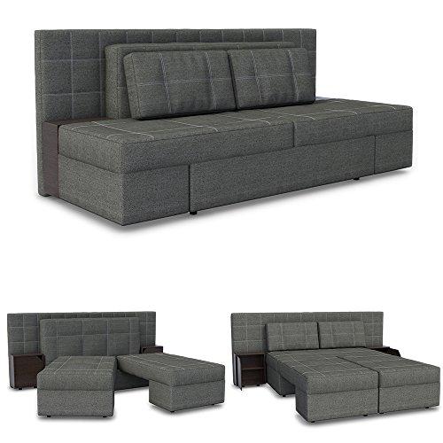 Innovatives Schlafsofa LUXUS 230 x 105 cm Grau - Sofa mit Schlaffunktion Schlafcouch Doppelbett Couch Boxspringbett