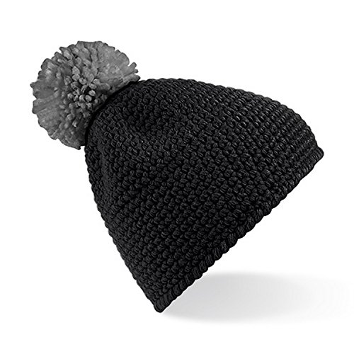 Beechfield Slopeside - Bonnet à pompon - Adulte unisexe Noir/Fuchsia