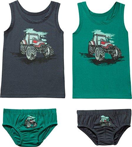 Kinderbutt Unterwäsche-Set 4-tlg. mit Druckmotiv grün-grau Größe - Unterwäsche Traktor Jungen