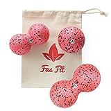 Faszienball Duo Set: Einzel- und 2X Duoball + Baumwolltasche + Farbiges, 16seitiges Übungsheft und eBook (Rot - 3er Set)