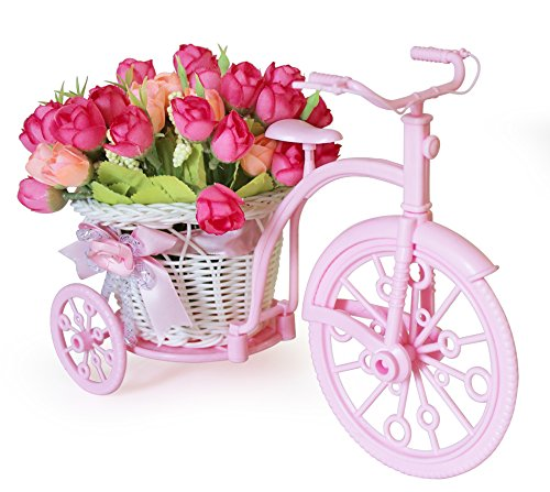 Tied Ribbons Cycle Shape Plastic Flowers Vase with Peonies Bunches (10.01 cm x 11.99 cm x 21.01 cm, TR-CycleVaseFlowers007)