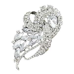 Voberry® Donna bouquet da sposa con strass di cristallo Diamante Spilla Pin Spille (bianco)