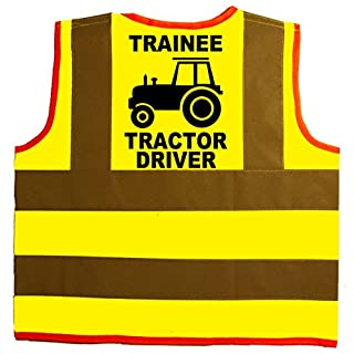 Trainee Tractor Driver Baby/Children/Kids Hi Vis Safety Jacket/Vest Size 4-6 Years Yellow Optional Personalised On Front
