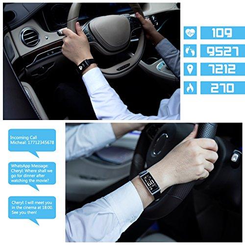 Fitness Tracker [Elegantes Lederarmband], CHEREEKI Herzfrequenzmonitor Smart Armband Fitness Armbanduhr mit Aktivitätstracker / Schrittzähler / Schlafüberwachung / Push Anruf-Benachrichtigung - Bild 2