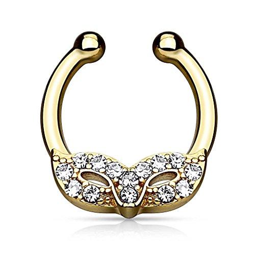 Piercingfaktor Universal Fake Piercing Septum auch für Tragus Helix Ohr Nase Lippe Brust Intim - Hufeisen Ring Venezianische Maske Kristall Gold