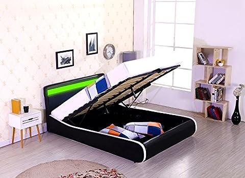 Espirit LED Designer Bed - Gas Lift Storage - Ottoman - Faux Leather (Double 4ft6, Black/White)
