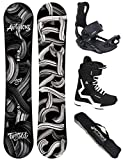 AIRTRACKS Snowboard Set - Tabla Twisted Wide 158 - Fijaciones Master - Softboots Savage Black 47 - SB Bag